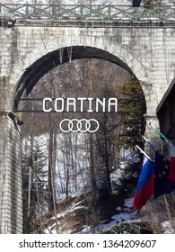Italy, South Tyrol, resort town of Cortina d'Ampezzo - 01/25/2018 Daily midday life in the famous resort medieval town of Cortina d'Ampezzo