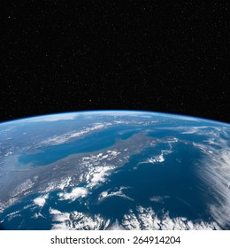 Italy from space with stars above. Elements of this image furnished by NASA.