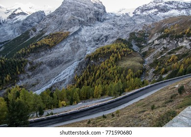 Italy, Stelvio National Park. Famous serpentine road of Stelvio Pass in Ortler Alps on October. Alpine landscape.