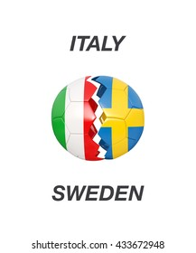 Italy / Sweden soccer game 3d illustration