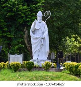Italy, Terni. February 2019. Statue of Saint Valentine (Valentine's Day). On February 14th the city of Terni celebrates the patron saint (SanValentino), protector of lovers