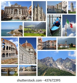 Italy tourism attractions - travel photo collage with Rome, Venice, Florence, Milan, Pisa, Sicily and Italian Alps.