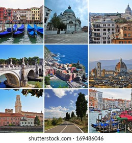 Italy travel collage: selection of popular cities skylines and beautiful landscapes from Venice, Florence, Rome, Liguria and Tuscany regions