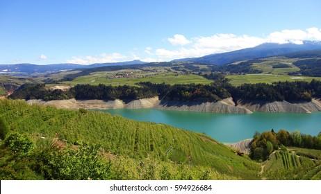 Italy, Trentino Alto Adige: Saint Giustina lake in Cles