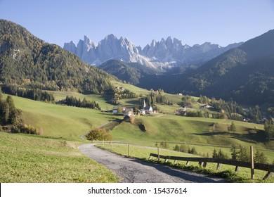 Italy. Trentino-Alto Adige Region.Dolomites Mountains.  Val di Funes, Santa Maddalena.