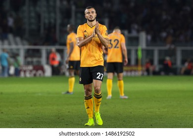 italy, Turin, august 22 2019: Romain Saiss, Wolves midfielder, greets the fans at the end of football match TORINO FC vs WOLVERHAMPTON, Playoff 1leg Europa League, Turin stadium