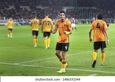 italy, Turin, august 22 2019: Raul Jimenez, Wolves striker, scores and celebrates the 3-1 goal at 72' during football match TORINO FC vs WOLVERHAMPTON, Playoff 1leg Europa League, Turin stadium