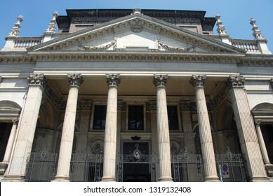 Italy / Turin – August 4, 2011: The neoclassical façade of the church of San Filippo Neri in Turin designed by architect Filippo Juvarra.