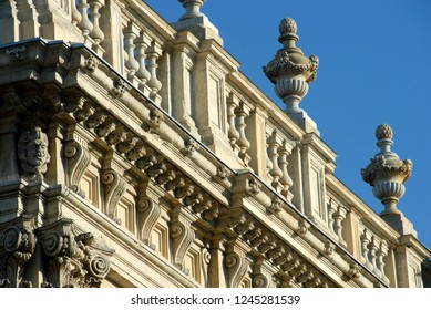 Italy / Turin – June 11, 2018: The façade, the columns, the bas-reliefs, the ornaments of Palazzo Madama that was designed by Filippo Juvarra around 1720 and is one of the masterpieces of the Baroque.