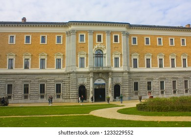 ITALY, TURIN - November 2, 2018: Facade of the Archaeological Museum (Galleria Sabauda) in Turin at Palazzo Reale (The Royal Palace) in Turin