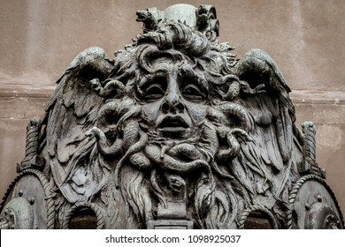 Italy, Turin. This city is famous to be a corner of two global magician triangles. This is a Medusa's head made of bronze close to the historical garden of Valentino in Turin.