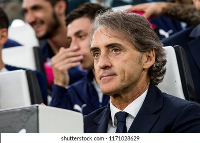 ITALY, TURIN / TORINO - July 4th 2018:  Roberto Mancini Italian head coach portrait During the international friendly match Netherlands vs Italy at the Allianz Stadium / Juventus Stadium