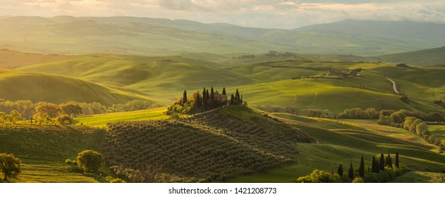 Italy Tuscany - April 20,2019. Spring panorama of the most beautiful area in Tuscany, Val d'Orcia Valley
