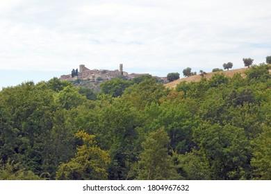 Italy / Tuscany - August 2020: Tuscany landscape, the countryside of Maremma, Montemerano