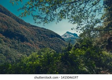 Italy Tuscany, beautiful mountain landscape framed of branches