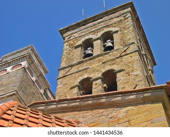 Italy, Tuscany, bell tower of the Roman Catholic cathedral in Cortona.
