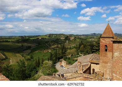 Italy, Tuscany, Certaldo: View ill from Boccaccio house.