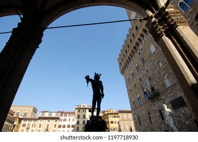Italy, Tuscany / Florence – February 2, 2011: in the Loggia dei Lanzi in Piazza della Signoria there is a bronze sculpture by Benvenuto Cellini which depicts Perseus with the head of Medusa.