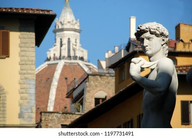 Italy, Tuscany / Florence – February 2, 2011: the face of the David by Michelangelo from Piazza della Signoria and in the background the dome of the Duomo by Filippo Brunelleschi