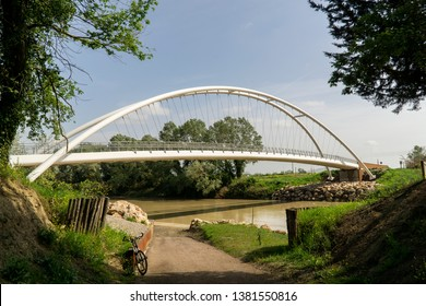 Italy Tuscany Grosseto maremma, new pedestrian cycle bridge over the Ombrone river