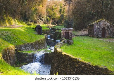 "Italy, Tuscany, Lucca, Acquedotto Nottolini, Nature walk on foot or by mountain bike Aqueduct and park ""At the Golden Words"" about 4 kilometers, Via Francigena"