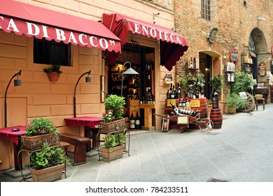 Italy, Tuscany, Montepulciano, August 2017 traditional wine shops in the streets of the historic center of Montepulciano in Tuscany Italy