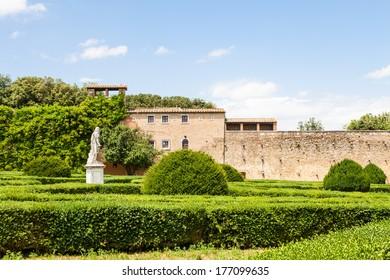 Italy, Tuscany region, San Quirico. Famous Italian garden of Orti Leonini