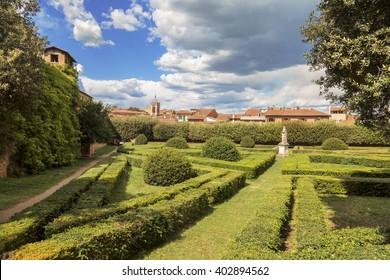 Italy, Tuscany region, San Quirico. Famous Italian garden of Horti Leonini
