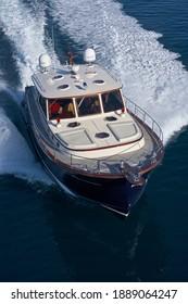Italy, Tuscany, Viareggio; 12 January 2006, ABATI YACHTS PORTLAND 55 LOBSTER luxury yacht, aerial view - EDITORIAL