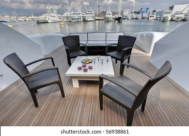Italy, Tuscany, Viareggio, Tecnomar Velvet 100' luxury yacht, backboard deck