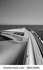 Italy, Tyrrhenian sea, luxury yacht, bow and sundeck
