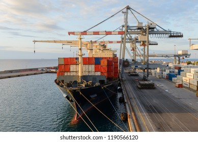 Italy, Vado Ligure - May 23, 2018: Container ship moored at port