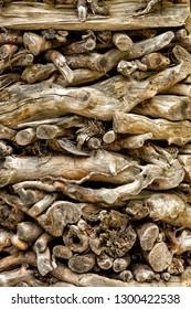 Italy Valsugane Arte Sella Stack of weathered wood