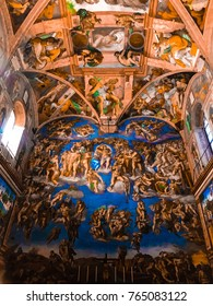 Italy, Vatican, Sistine Chapel, november 27, 2017, Ceiling and the Last Judgment of the Sistine chapel in the Vatican Museum