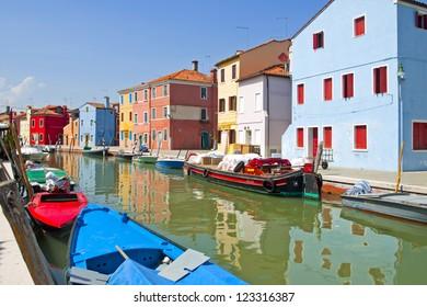 Italy, Venetian lagoon. Burano's unique island