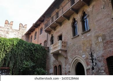 ITALY, VENETO, VERONA - SEPTEMBER 15, 2019; Juliet's balcony in Verona