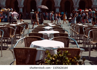 Italy, Venezia - 05.21.2018: Saint Mark square with among the empty tables of cafe in the background - Venice, Venezia, Italy, Europe