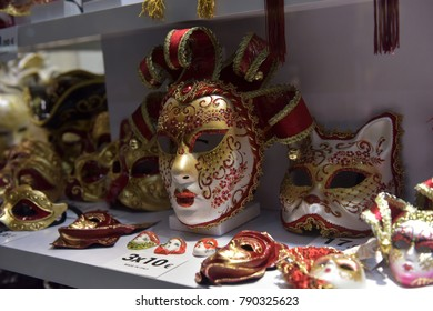 Italy, Venice, 04,01,2018  Traditional venetian mask in store on street, Verona Italy.
