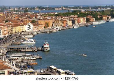 ITALY. VENICE - APRIL 22, 2016: A view of the Venetian lagoon and waterfront Riva degli Schiavoni.