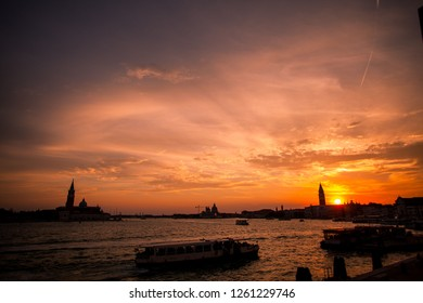 Italy, Venice, August 22, 2010: beautiful sunset over the city.