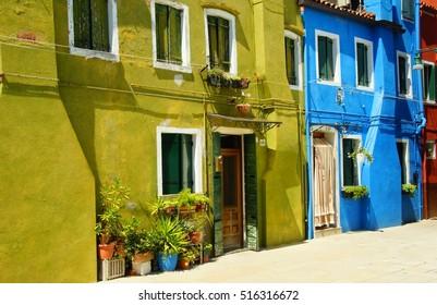 ITALY, VENICE, BURANO - JULY 17, 2014: The bright colors of Burano island in Venice