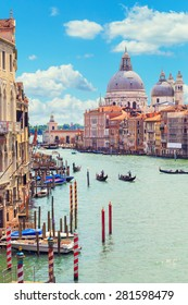 Italy. Venice. Grand Canal. View of the Basilica di Santa Maria della Salute