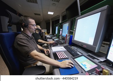 Italy, Venice International Airport; 14 September 2011, air traffic controllers at work in the flight control tower at night - EDITORIAL