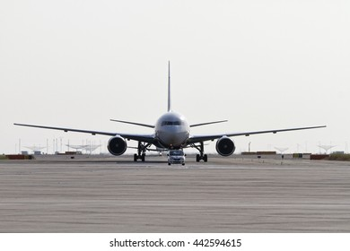 Italy, Venice, Venice International Airport; 14 September 2011, airplane on  the runway ready for takeoff - EDITORIAL