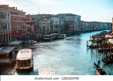 ITALY, VENICE - JANUARY 4, 2019: View of the Grand Canal of the old city of Venice from the Rialto Bridge.