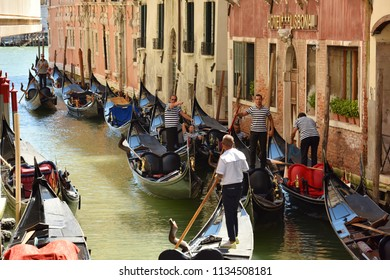 Italy Venice. July 06, 2018. Gondolier on the gondola.