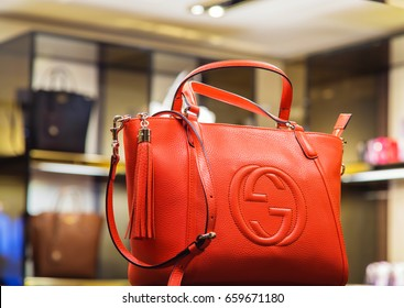 Italy, Venice - March 20, 2015: Handbags in a Gucci store in old block of venice center