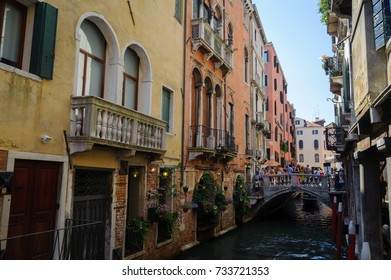 Italy, Venice, summer 2017. Old streets and canals of a beautiful city.