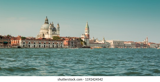 Italy, Venice (Venezia) landscape with The Basilica Santa Maria Della Salute. Panoramic view from the water.
