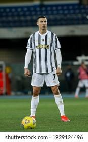 Italy, Verona, february 27 2021: Cristiano Ronaldo (Juventus striker) ready for a free kick in second half during football match HELLAS VERONA vs JUVENTUS, Serie A 2020-2021 day24, Bentegodi stadium